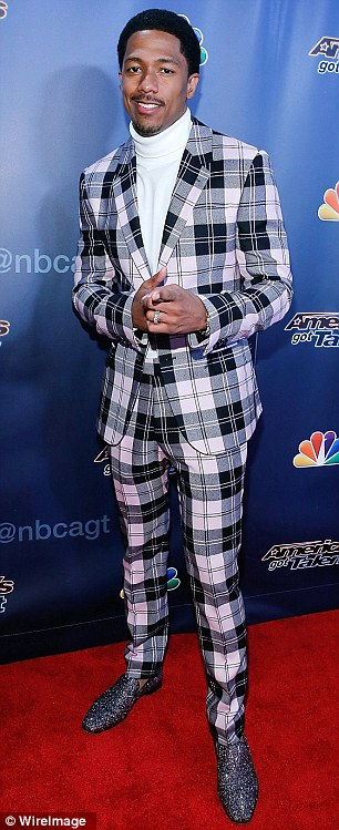 Flashy: Nick Cannon arrived in a lilac plaid suit and glittering shoes