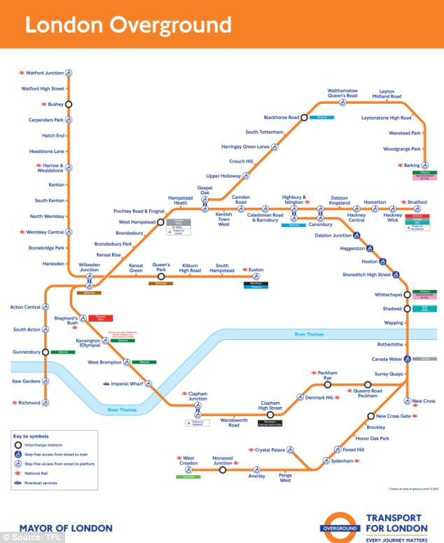 The Overground mainly covers London areas in zone two but the new orbital railway would extend from zone three right through to the outskirts encompassing some zone five areas like Sutton