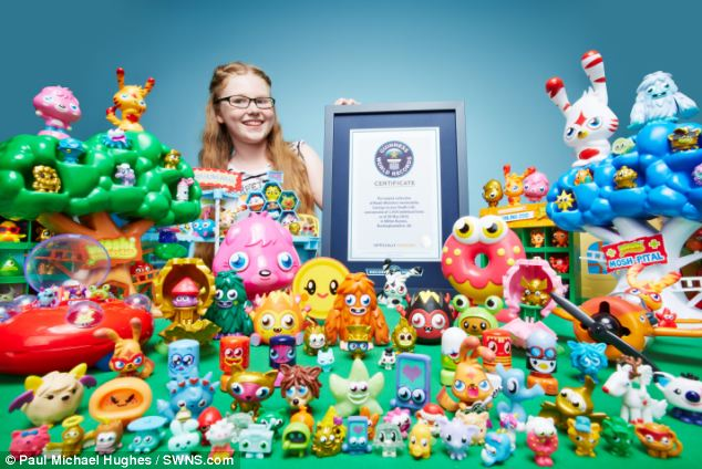 Lucy from Milton Keynes has hoarded 1,914 Moshi Monster mementos over the years and has set a Guinness World Record for the world's largest collection
