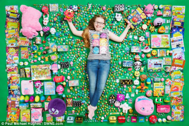 Monster collection: Lucy Neath, 12, is a Moshi Monster super-fan and has been collecting the mementos after getting hooked on the internet game three years ago