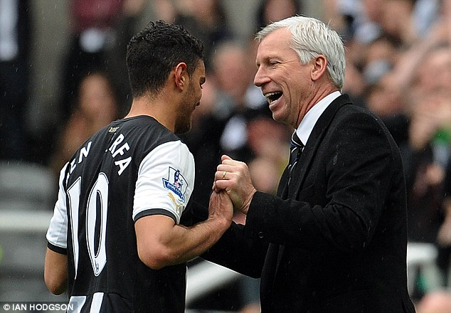 Happier times: Ben Arfa's (left) soured relationship with Alan Pardew (right) has seen him frozen out