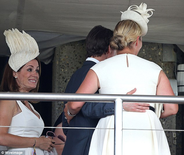 Excited: Natalie Pinkham looked delighted for Zara when she had her picture taken with Tom