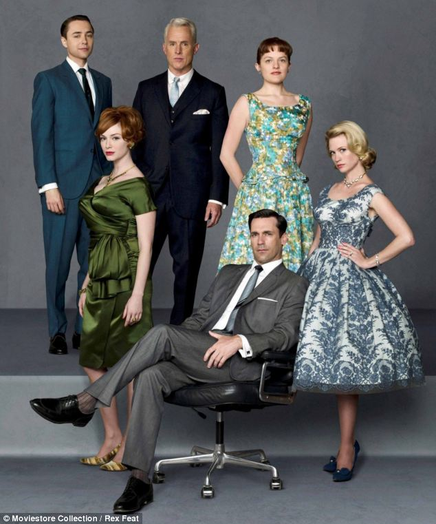 At work: Vincent Kartheiser, who plays Pete Campbell, is pictured top left with the cast of Mad Men
