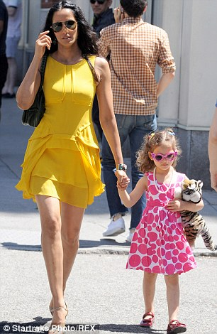 A glamorous mom: With daughter Krishna in May in NYC