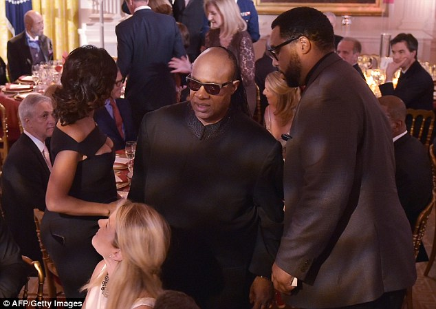 Stevie Wonder arrives for the celebration at the White House to honor the Special Olympics athletes