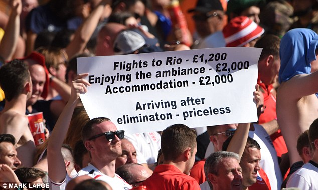 Easy come, easy go: At least there was one England fan who managed to maintain their sense of humour