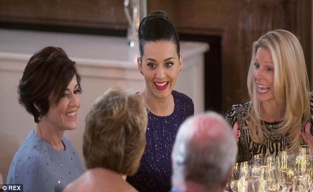 Katy Perry attends a celebrity-packed dinner hosted by the President and First Lady in Washington DC on Thursday to mark the anniversary of the Special Olympics in the East Room of the White House