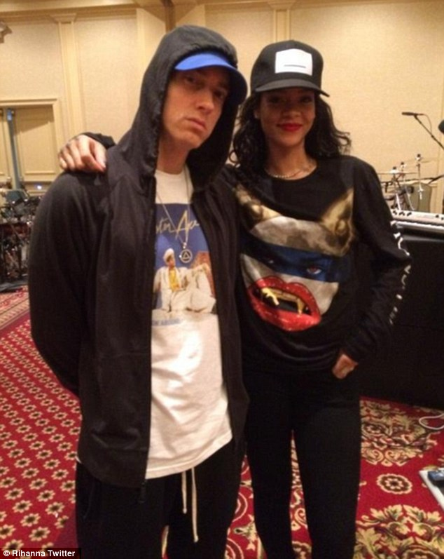 Coming soon: Rihanna posted this Instagram photo on Wednesday of she and Eminem rehearsing for their Monster tour in Detroit