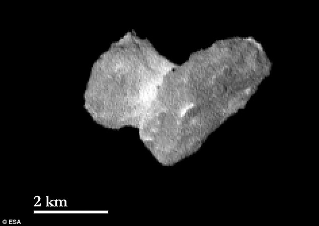 This image shows the nucleus of comet 67P/Churyumov-Gerasimernko from 1,210 miles (1,950 kilometers). One pixel in this image corresponds to approximately 120ft (37 metres). The bright neck region between the comet's head and body is becoming increasingly distinct as Rosetta approaches and its view improves