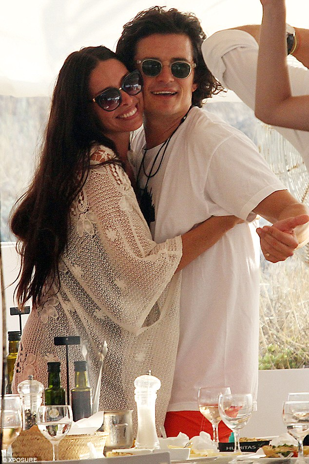 So close: The former singer grabbed onto the Lord Of The Rings star after a late lunch on the island of Formentera