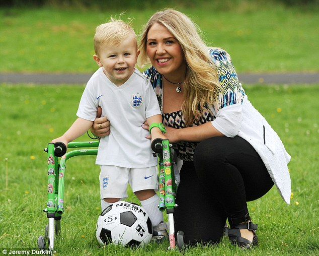A mother's love: Leo's mother Cara Oldham wants to raise £45,000 for an operation to allow him to run unaided