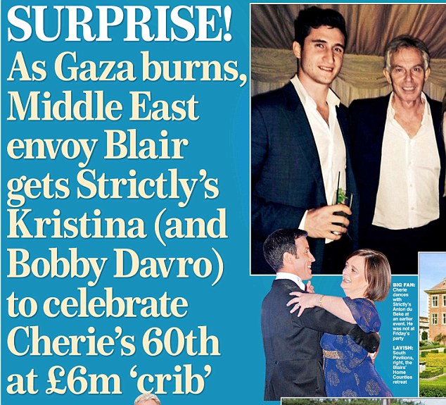 Criticised: Last week, the Mail on Sunday revealed how - despite the crisis in the Middle East - peace envoy Tony Blair, top right, stayed in the UK to throw a lavish party for wife Cherie, bottom right