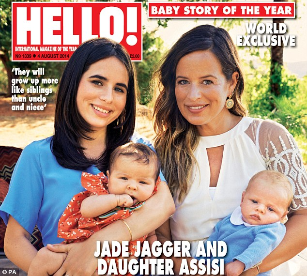 No matyr-familias: Jade Jagger, right, has broken ranks by having a third child just after her own daguther Assisi, left, had hers. The two told their story to Hello! magazine