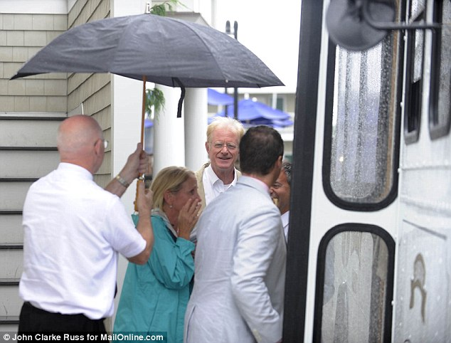 Actor Ed Begley Jr, a close friend of Kennedy's was spotted getting onto a shuttle in the rain