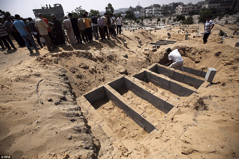 Burial site: The Gaza strip was filled with more and more dead yesterday as fresh violence engulfed the region. Israel withdrew some troops after signalling it had finished destroying tunnels, but reaffirmed its commitment to keep fighting Hamas even after the immediate objective of destroying its tunnel network is complete