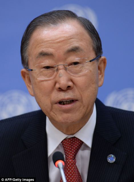 UN Secretary-General: Ban Ki-moon (pictured) today blamed Hamas for violating the 72-hour ceasefire in Gaza and demanded the immediate release of Lt Goldin