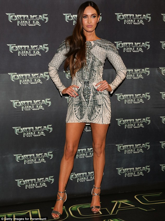 Shameless: Megan Fox embraced her sexpot image while promoting her upcoming film Teenage Mutant Ninja Turtles in LA on Friday; the actress showed off her stuff at the movie's Mexico premiere on Tuesday