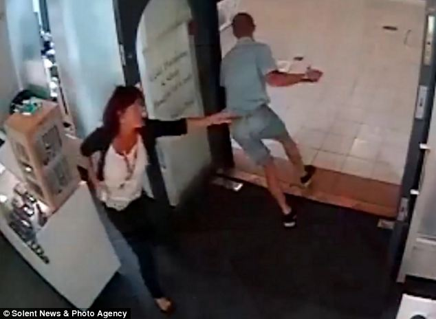 Mrs Devonshire turned to grab the man and chased after him as he made off out of the shopping centre