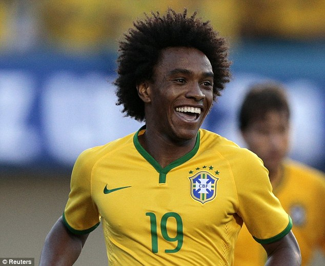 All smiles: But Willian is another of Chelsea's World Cup stars who is struggling to be fit