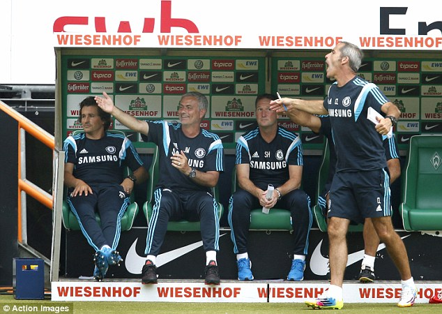 UP in arms: Jose Mourinho gestures during Chelsea's 3-0 defeat at Werder Bremen