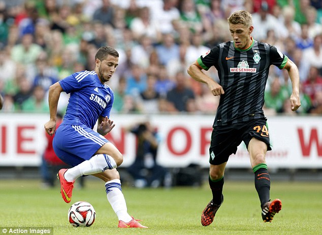 Touch of class: Eden Hazard impressed as a second half substitute during Chelsea's defeat in Germany