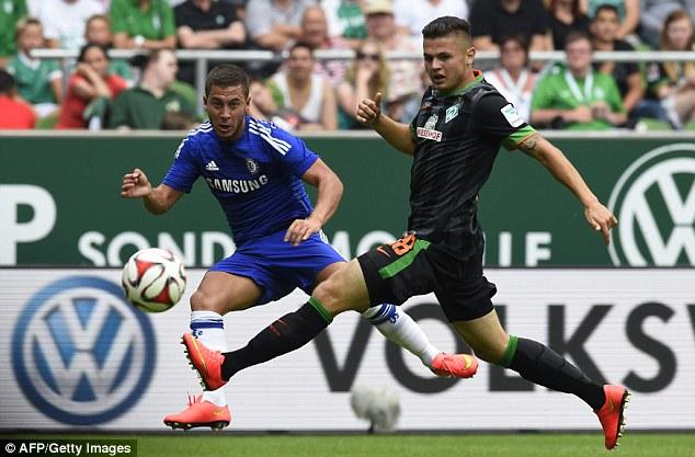 Back in action: Eden Hazard played 33 minutes in Chelsea's 3-0 defeat to Werder Bremen
