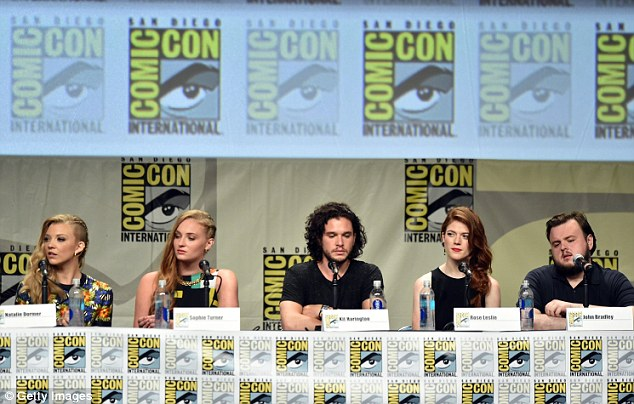 Inseparable: Just two days after their arrival at the Los Angeles travel hub, the two Brits sat next to each other during a panel for the HBO fantasy series during Comic-Con in San Diego