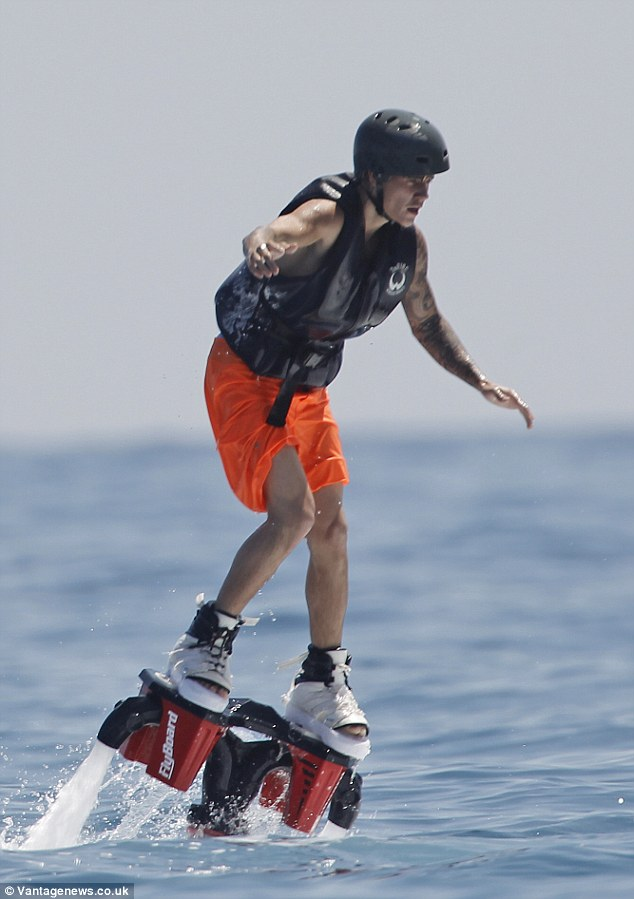 Is it a bird, is it a plane? No, it's Biebs! Justin Bieber tried out Flyboarding during his holiday to Ibiza on Sunday