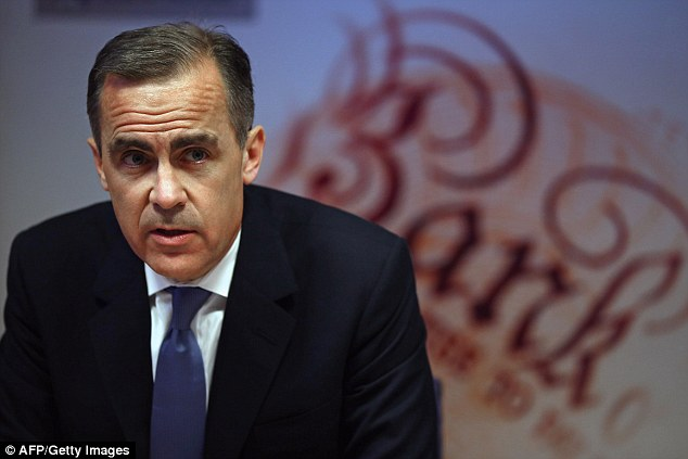 Bank of England governor Mark Carney: He has ordered a newtest to see if borrowers could still afford their loans if interest rates rise by 3 per cent and is limiting mortgages of more than 4.5 times borrowers' income