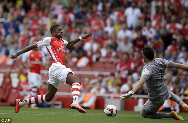 Arsenal: Gunners forward Chuba Akpom just before being brought down by Monaco keeper Danijel Subasic