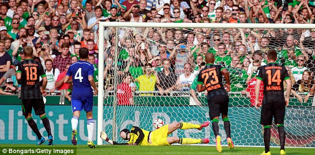 Defeat: Chelsea suffered defeat at the hands of Werder Bremen, Mourinho blamed it on the referee