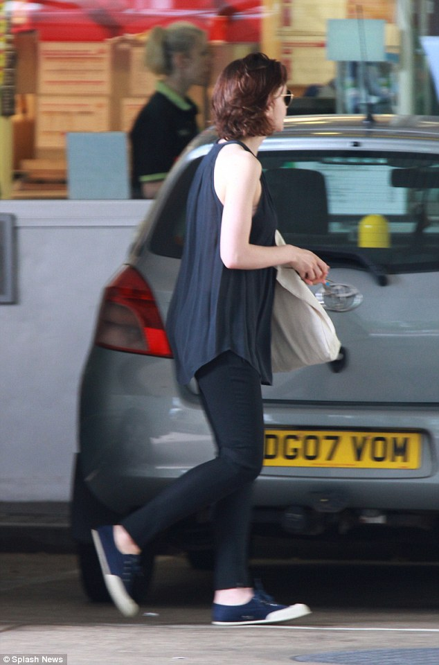Kicking back: The actress appeared relaxed as she headed towards her car