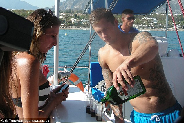 Boozy: He poured some Jägermeister shots for the girls during the trip