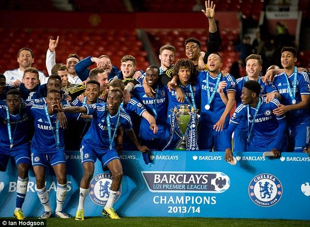 Winners: Chelsea celebrating victory in the 2013/14 U21 Premier League
