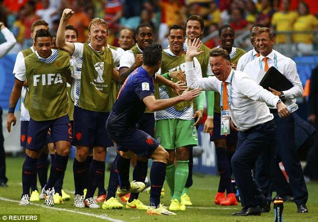 Winning partnership: Van Persie shone for Louis van Gaal's Holland at the World Cup in Brazil this summer
