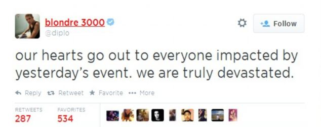 American DJ Diplo took to Twitter after learning of the death of Tyler Fox Viscardi