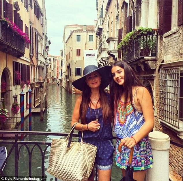 Family vacation: Kyle enjoyed her European vacation with her daughter Sophia and captioned this photo '1 item off my bucket list ¿¿. Go to Venice, Italy w/ my family CC @sophiakylieee'
