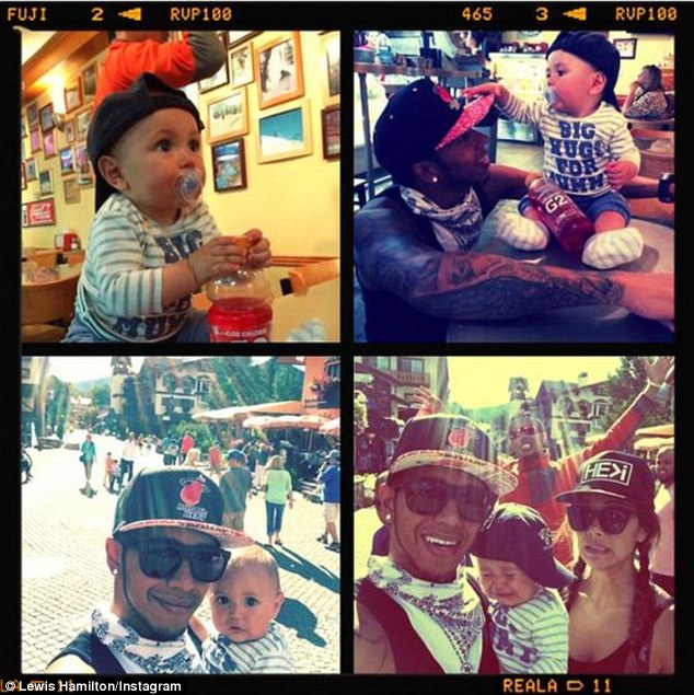 'Hanging out with my nephew Kaiden Lewis & my lady': Later in the day, the couple were joined by the F1 driver's nephew