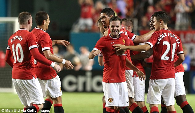 In front: Juan Mata scored to put United ahead as Van Gaal's side ended their tour unbeaten