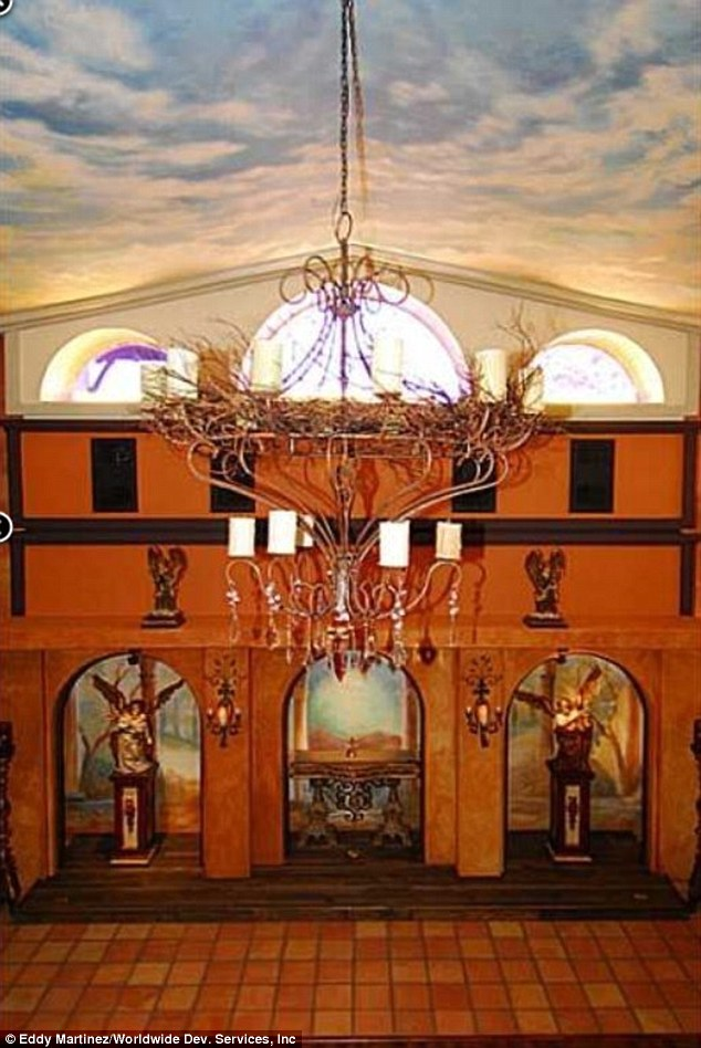 Holy place: The so-called 'Neverland Chapel' sports two-stories and a giant chandelier in the center