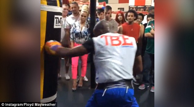 Training hard: Mayweather is preparing to fight Marcos Maidana again in September