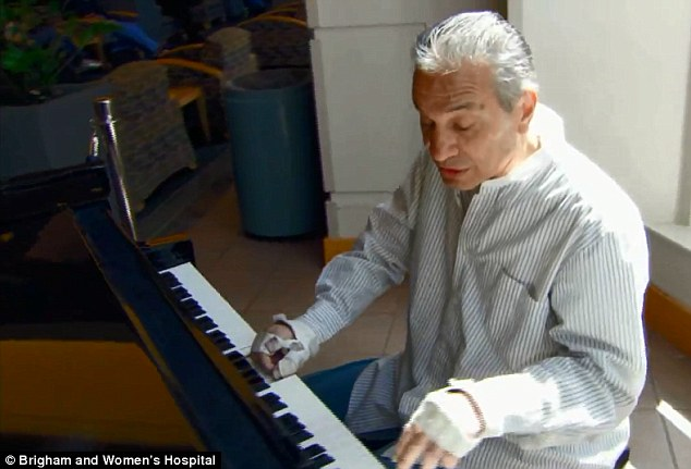 Content: Maybe one day he be able to play guitar ago. But for the moment Mangino is happy with the piano