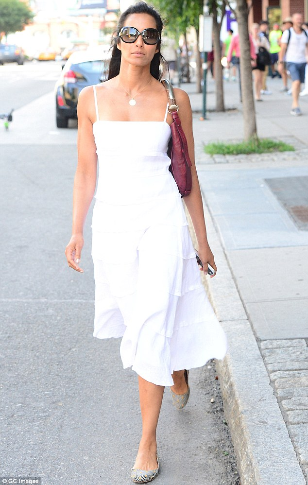 Bright and fresh: The cookbook author appeared to enjoy her solo summer stroll around Soho