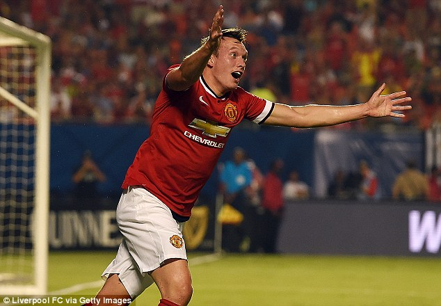 Forgetful: Manchester United defender Phil Jones was forced to borrow money from fitness coach Tony Strudwick after failing to take any cash out with him during an afternoon off in America