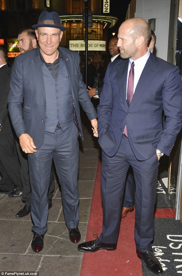 Familiar faces: Sylvester is also joined by his Expendables co-stars Vinnie Jones (left) and Jason Statham (right)