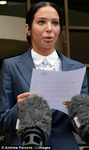 Sting: The Sun on Sunday reporter had accused former X Factor judge Tulisa Contostavlos, pictured outside court last month, of setting up a cocaine deal