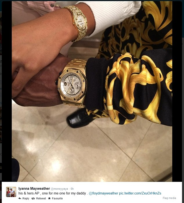 Family jewels: Mayweather's daughter posts their matching AP watches