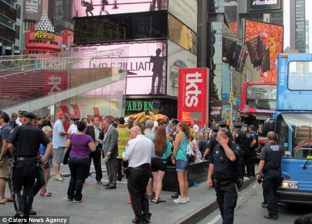 The accident occurred around 47th Street and Seventh Avenue in Manhattan, an area of Times Square usually teeming with tourists near the TKTS discount Broadway tickets booth and the Hershey's Chocolate World store
