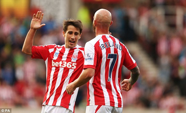 Celebration: Bojan (left) is congratulated by Stephen Ireland after scoring on of his three pre-season goals