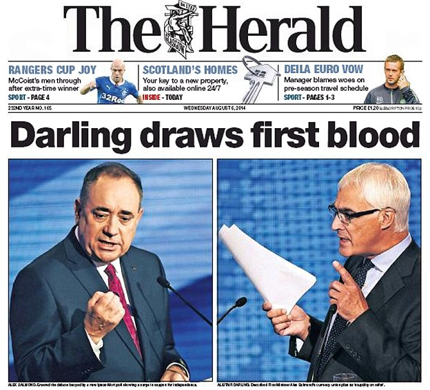 The Glasgow Herald yesterday: The paper said Mr Darling had 'upset the odds after coming out on top'